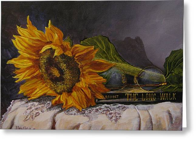 Sunflower And Book Greeting Card