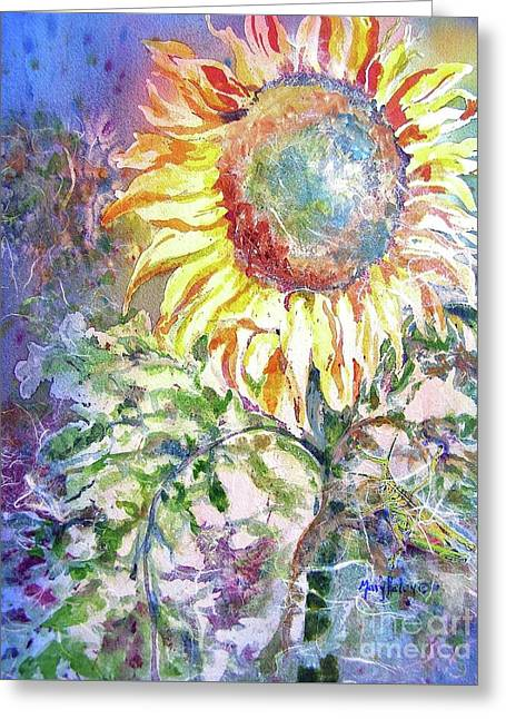 Sunflower And Grasshopper Greeting Card
