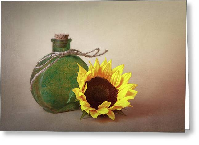 Sunflower And Green Glass Still Life Greeting Card by Tom Mc Nemar