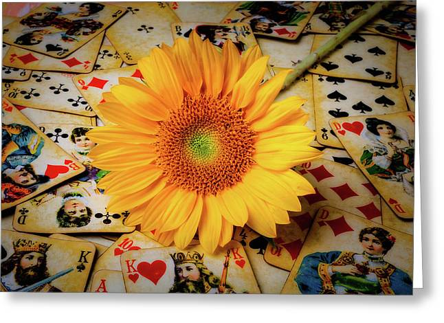 Sunflower And Old Playing Cards Greeting Card by Garry Gay