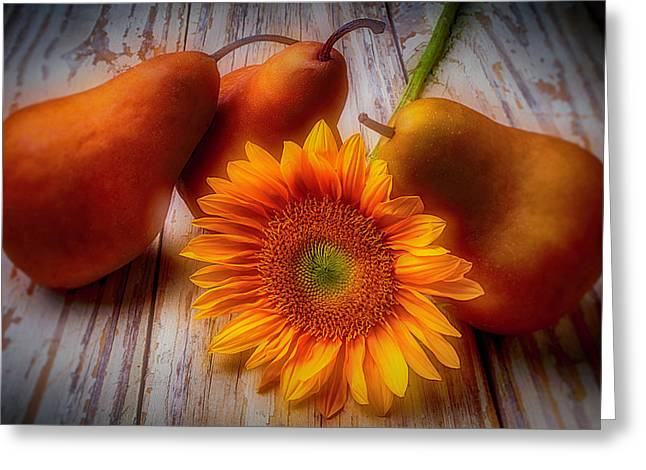 Sunflower And Pears Greeting Card by Garry Gay