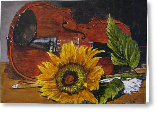 Sunflower And Violin Greeting Card