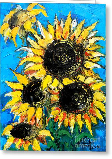 Sunflower Bouquet Greeting Card by Mona Edulesco