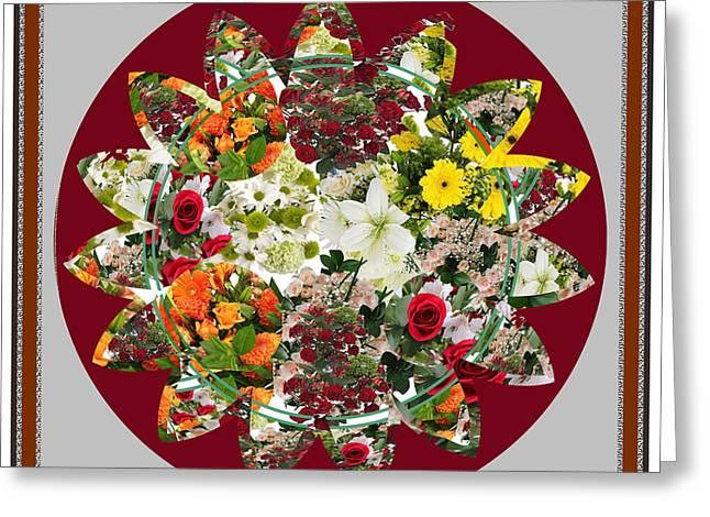 Sunflower Bouquet Flower Arrangement  Created By Navin Joshi Artist Greeting Card by Navin Joshi