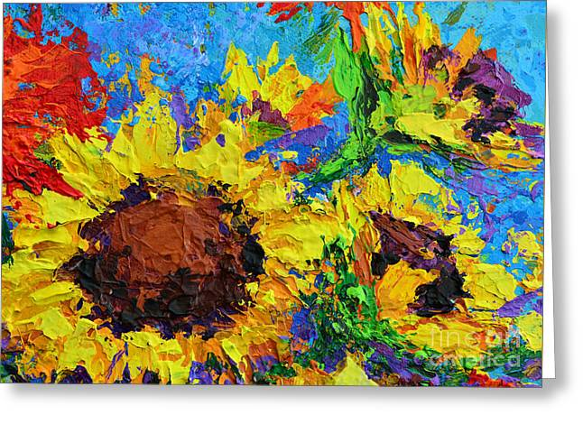Sunflower Bunch Modern Impressionistic Floral Still Life Palette Knife Work Greeting Card by Patricia Awapara