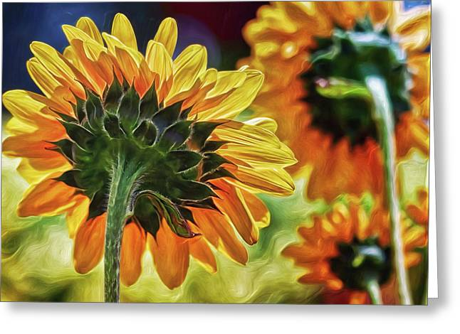 Greeting Card featuring the digital art Sunflower City by Doctor Mehta