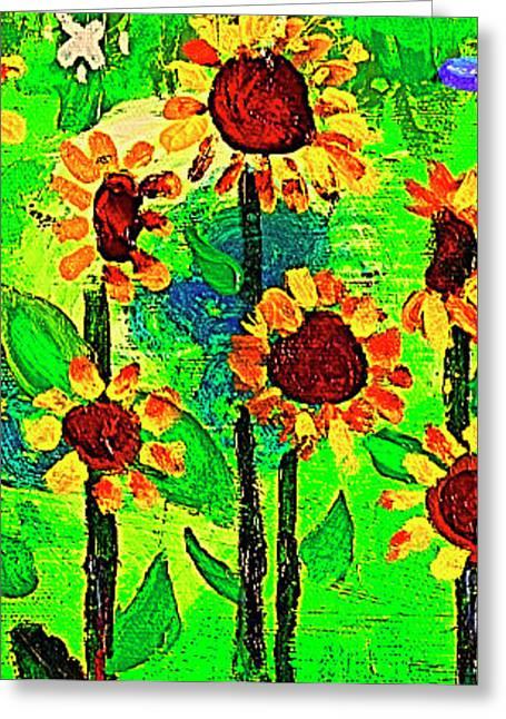 Sunflower Closeup Greeting Card by Angela Annas
