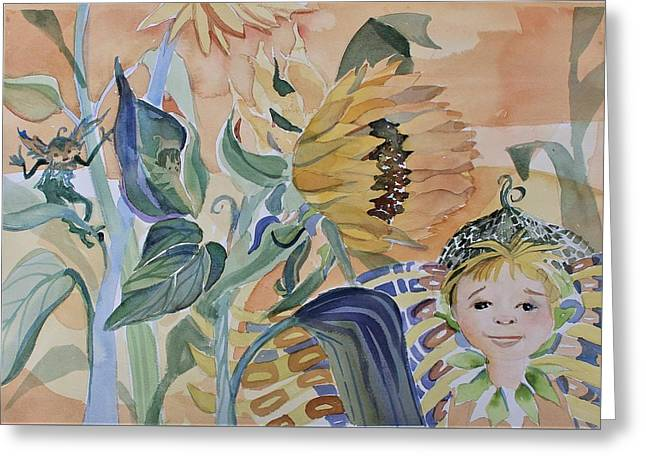 Sunflower Fairy Greeting Card by Mindy Newman
