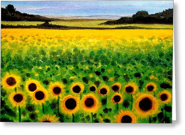 Greeting Card featuring the painting Sunflower Field by Elizabeth Robinette Tyndall