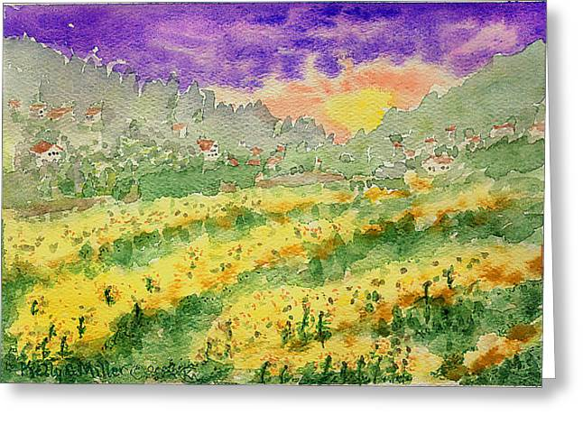 Sunflower Field Greeting Card by Kelly Miller