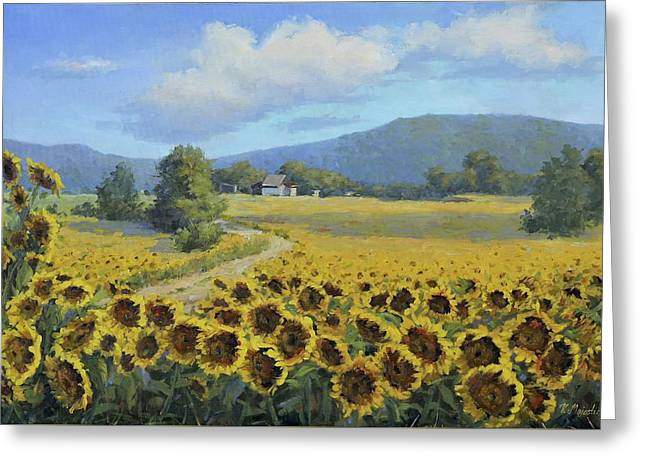 Viktoria k majestic greeting cards greeting card featuring the painting sunflower fields by viktoria k majestic m4hsunfo