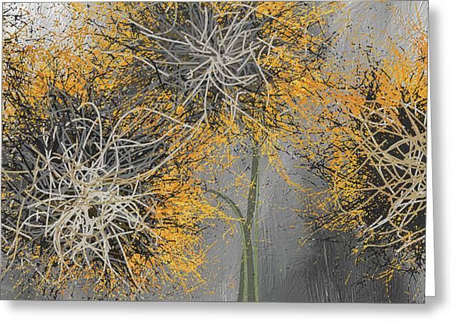Sunflower Frenzies - Yellow And Gray Modern Art Greeting Card