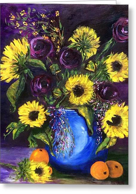 Greeting Card featuring the painting Sunflower Frenzy by Patti Ferron