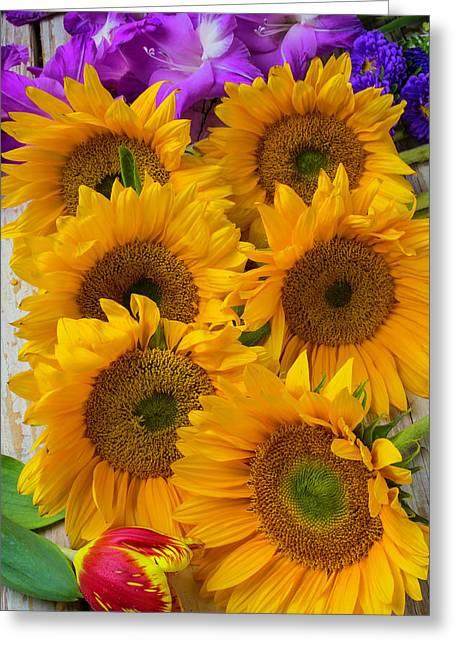 Sunflower Gathering Greeting Card