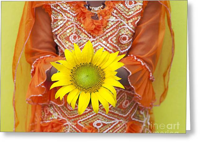 Sunflower Girl Greeting Card by Tim Gainey