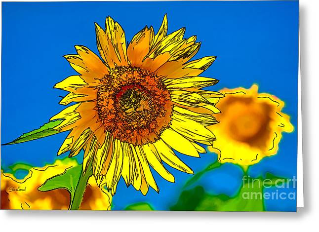 Sunflower In Line And Ink Greeting Card