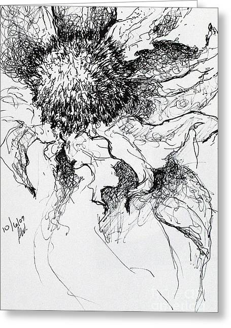 Sunflower In Pen And Ink Greeting Card by Amy Williams