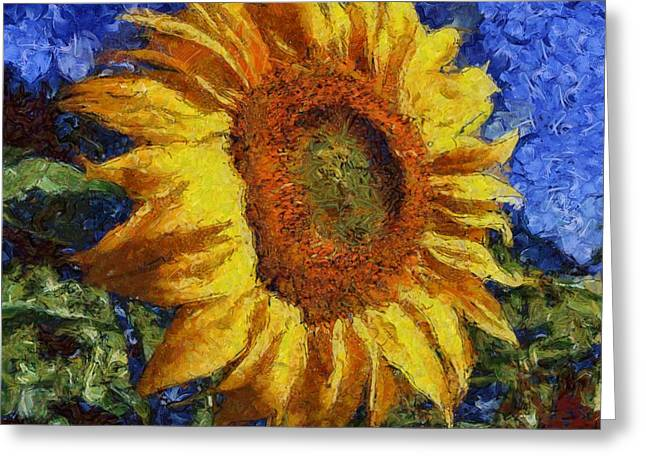 Sunflower In Van Gogh Style Greeting Card by Tracey Harrington-Simpson