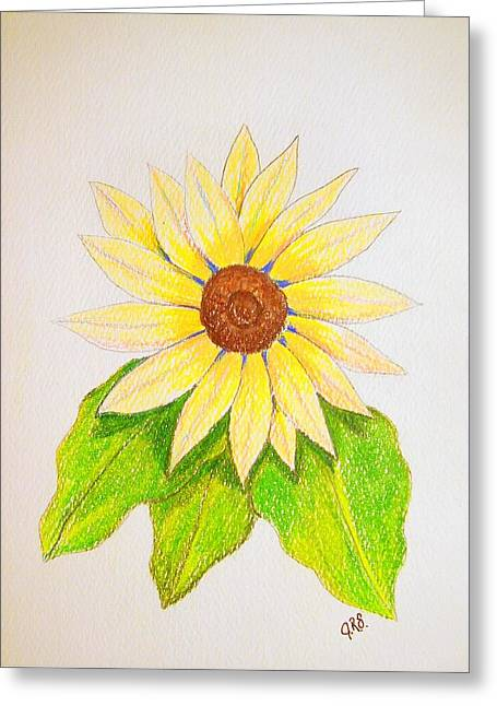 Greeting Card featuring the drawing Sunflower by J R Seymour