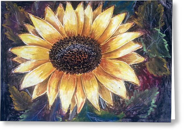 Sunflower Greeting Card by MadhuRavi Paintings