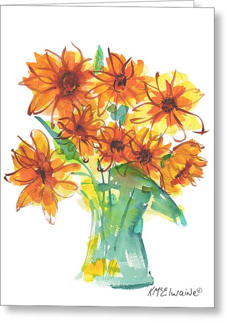 Sunflower Medley II Watercolor Painting By Kmcelwaine Greeting Card