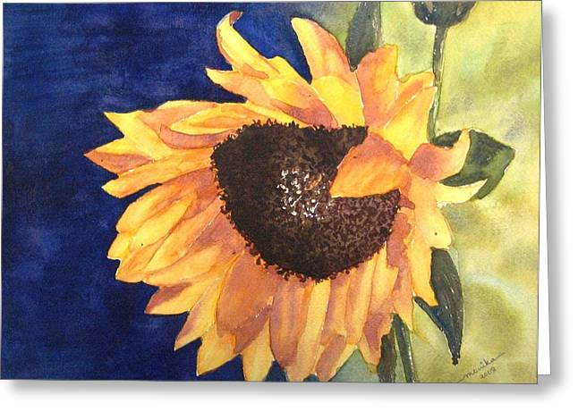 Sunflower Greeting Card by Monika Deo