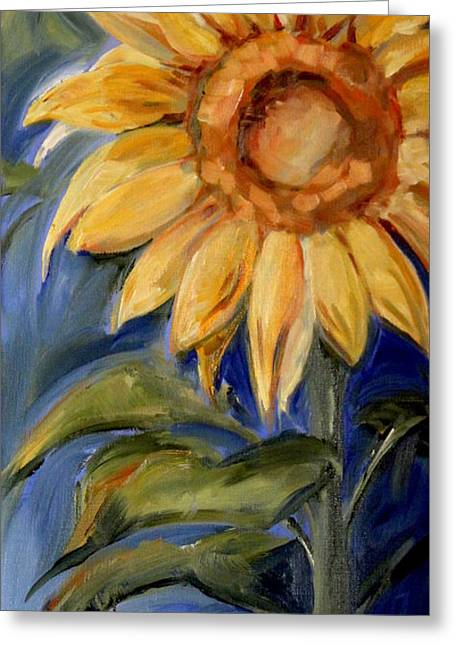 Sunflower Oil Painting Greeting Card by Maria's Watercolor