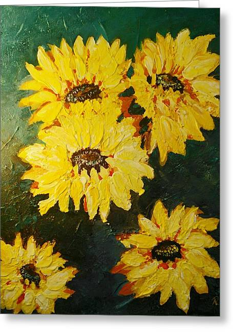 Greeting Card featuring the painting Sunflower by Ray Khalife
