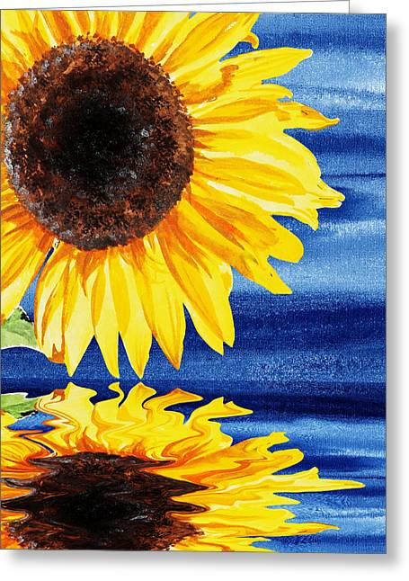 Sunflower Reflection By Irina Sztukowski Greeting Card by Irina Sztukowski