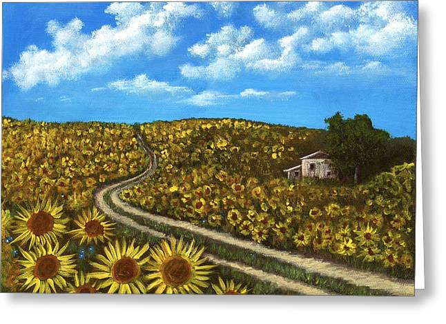 Greeting Card featuring the painting Sunflower Road by Anastasiya Malakhova