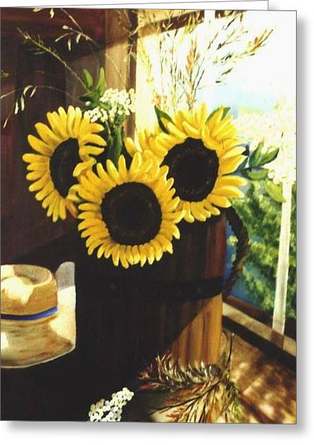 Greeting Card featuring the painting Sunflower Sill by Renate Nadi Wesley