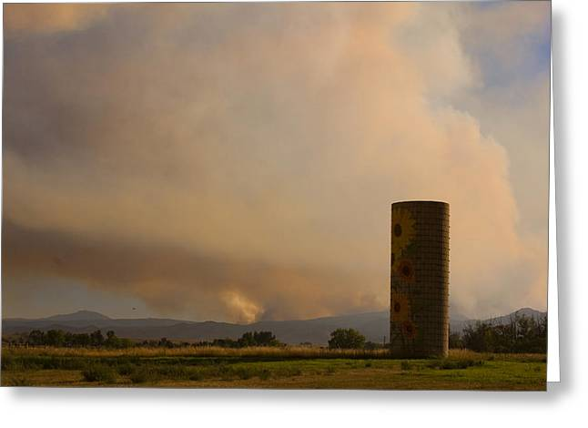 Sunflower Silo With The Four Mile Canyon Fire  Greeting Card