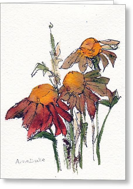 Greeting Card featuring the painting Sunflower Trio #1 by Anne Duke