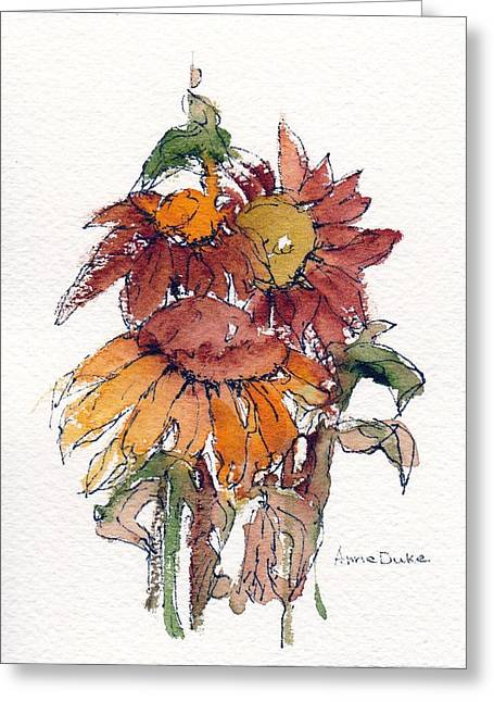 Greeting Card featuring the painting Sunflower Trio #2 by Anne Duke