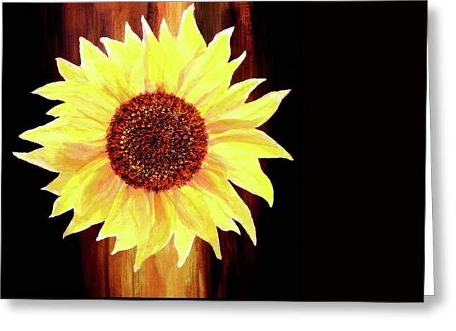 Sunflower-floral Painting By V.kelly Greeting Card