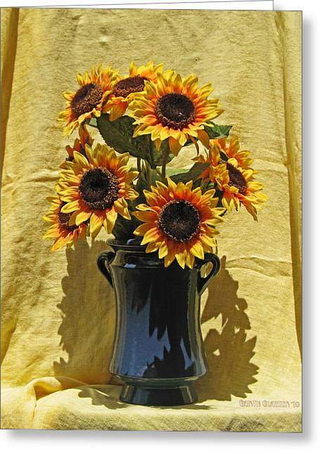 Sunflower Vase Greeting Card by Garth Glazier