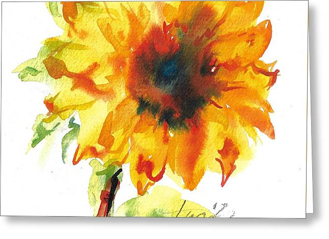 Sunflower With Blues Greeting Card