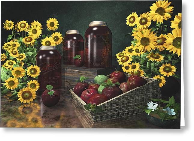 Sunflowers And Apples 2 Greeting Card by Mary Almond