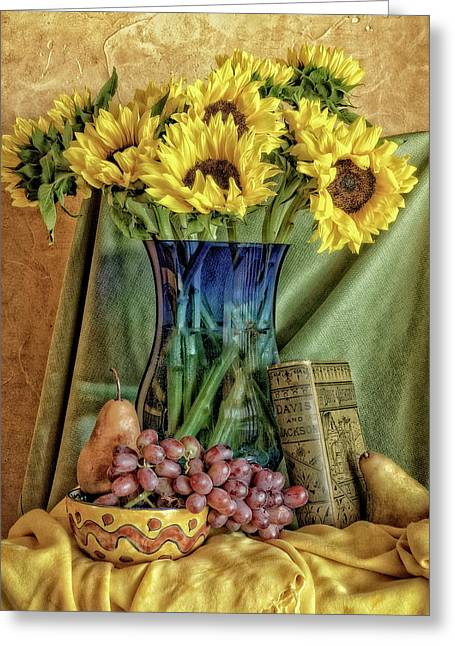 Sunflowers And Blue Vase Greeting Card