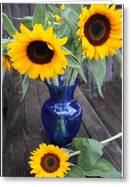 Sunflowers And Blue Vase - Still Life Greeting Card