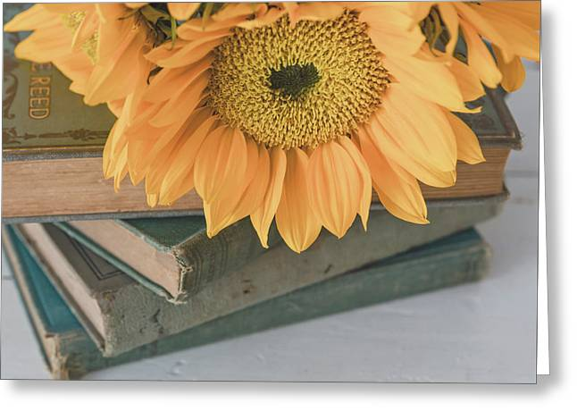 Greeting Card featuring the photograph Sunflowers And Books by Kim Hojnacki