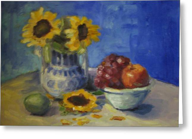 Sunflowers And Fruit Greeting Card