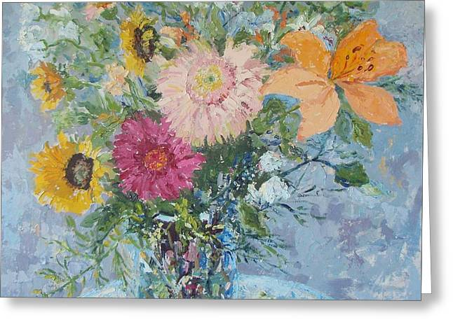 Sunflowers And Gerbera Daisies Greeting Card by Elinor Fletcher