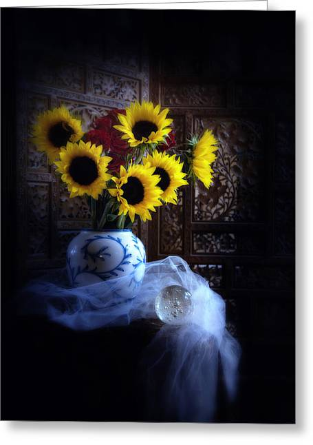 Greeting Card featuring the photograph Sunflowers And Globe by Linda Olsen