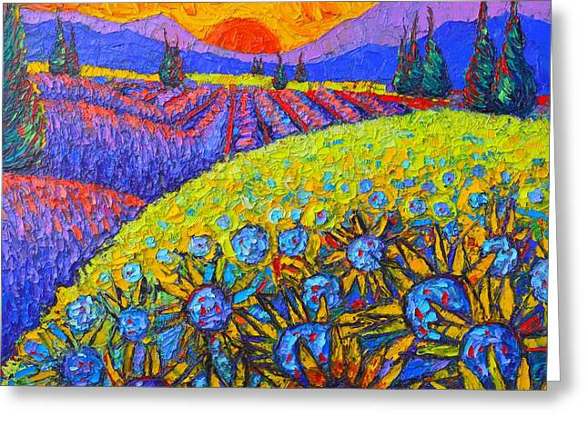 Sunflowers And Lavender Fields With Cypress Trees At Sunset Abstract Impressionist Landscape Greeting Card