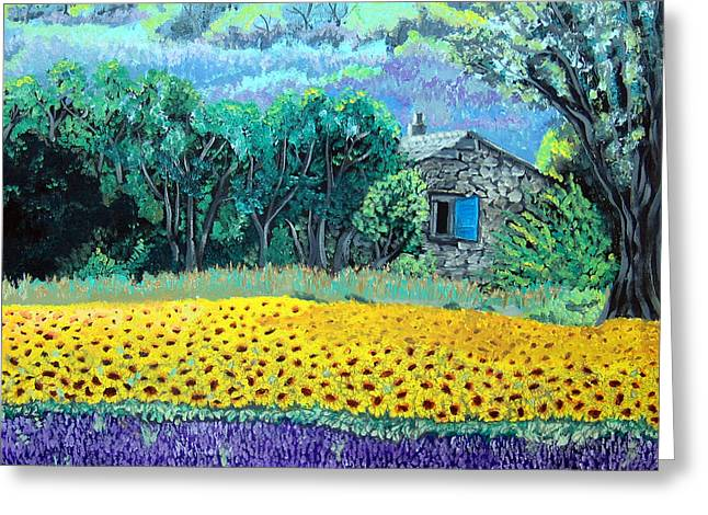 Sunflowers And Lavender Greeting Card
