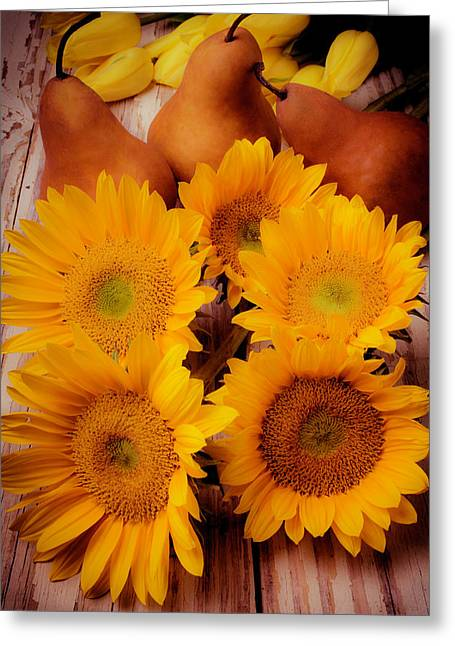 Sunflowers And Pears Greeting Card by Garry Gay