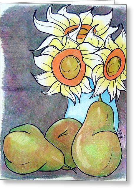 Sunflowers And Pears Greeting Card by Loretta Nash