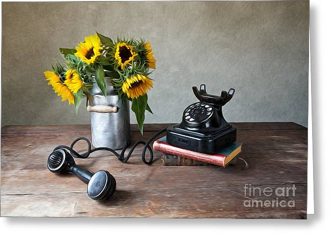 Yellow Sunflower Greeting Cards - Sunflowers and Phone Greeting Card by Nailia Schwarz
