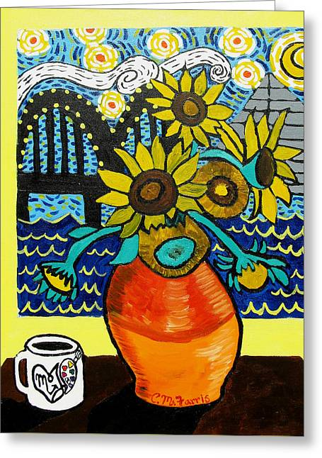 Sunflowers And Starry Memphis Nights Greeting Card